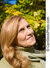 elderly woman at park