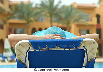Elderly woman at pool