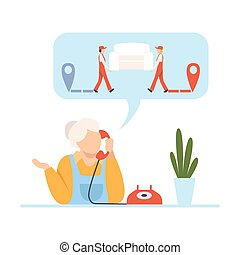 Elderly woman calls workers who rearrange furniture vector illustration on White Background.