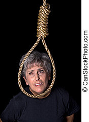 Elderly woman committing suicide