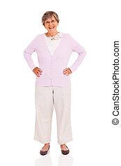 elderly woman full length portrait on white background