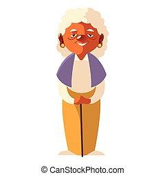 elderly woman, grandmother female senior cartoon