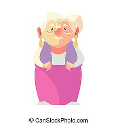 elderly woman, grandmother with glasses female senior cartoon