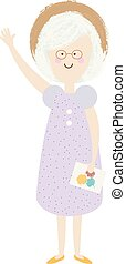 Elderly woman. Happy old lady. cartoon senior female. Grandmother retired in summer hat and dress