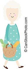 Elderly woman. Happy old lady. cartoon senior female. Grandmother retired walking with shopping bag