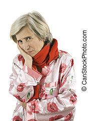 Elderly woman having toothache