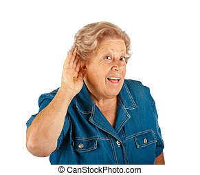 Elderly woman, hearing problems - Elderly woman hearing...