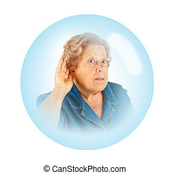 Elderly woman - hearing problems - elderly woman with...