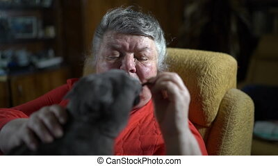 Elderly woman in an armchair giving her cat a tasty treat