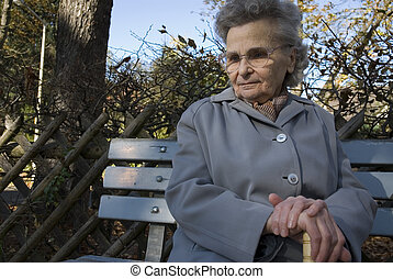 elderly woman in the park