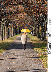 Elderly woman in the park with umbrella