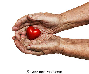 elderly woman keeping red heart in her palms isolated on ...