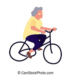 Elderly woman on a bicycle. Activity of the elderly concept. Senior female lifestyle. Mature cyclist leads a healthy lifestyle. Old lady on bike