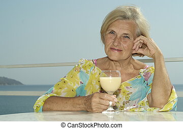 Elderly woman on vacation
