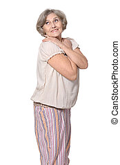 Elderly woman on white background