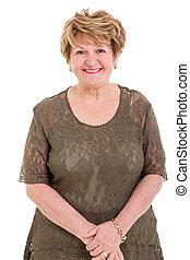 elderly woman portrait - portrait of happy elderly woman on...