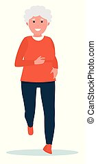 Elderly woman running. Healthy lifestyle. Flat cartoon illustration vector set. Active sport concept set.