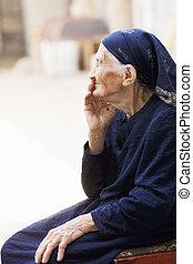 Elderly woman sideview