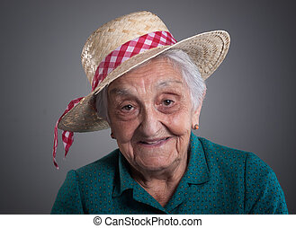 Elderly woman smiling