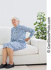 Elderly woman suffering