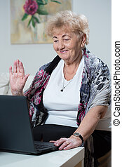 Elderly woman talking online