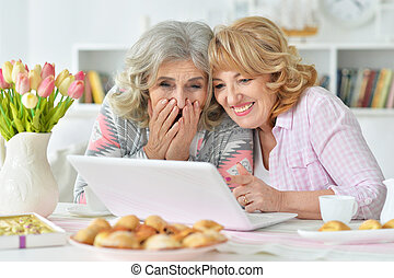 Elderly woman using a laptop