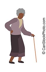 Elderly woman walking. Grandmother character with gray hair , isolated vector old female senior