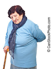 Elderly woman with back pain - Elderly woman having back in...