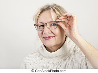 elderly woman with glasses