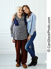 Elderly woman with granddaughter
