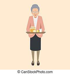 elderly woman with grandma's remedies tray vector illustration