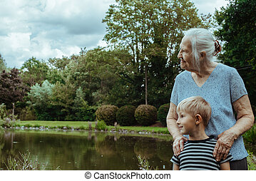 Elderly woman with grandson