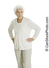 elderly woman with hands on hips