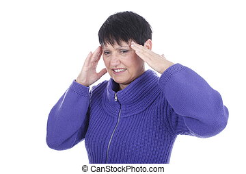 Elderly woman with headache isolated