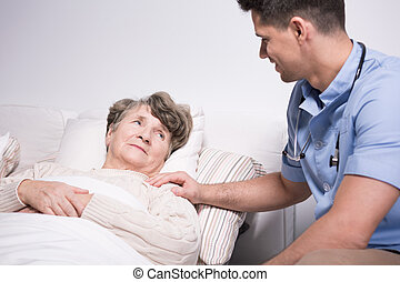 Elderly woman with health afflictions