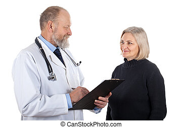 Elderly woman with her doctor