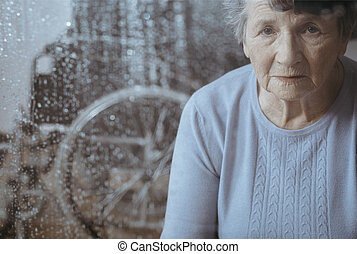 Elderly woman with osteoporosis