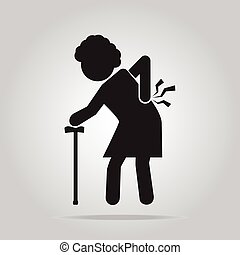 Elderly Woman with stick and injury of the back pain icon. -...