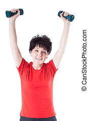 Elderly woman with weights