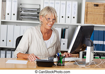 Elderly woman working on the computer
