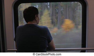 Elderly woman's back near window in train