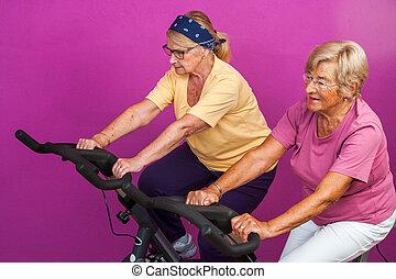 Elderly women doing leg exercises in gym.