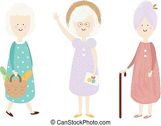 Elderly women. Happy old lady. Cartoon senior female. Grandmother shopping, standing. Retired activity Isolated clip art