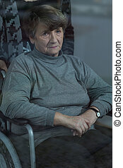 Elderly women in a wheelchair