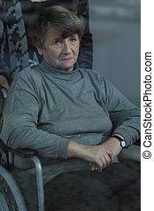 Elderly women in a wheelchair