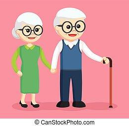 eldery couple holding hands
