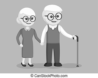 Eldery couple holding hands