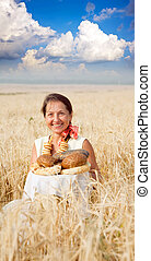 Eldery woman  with bread