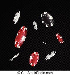 eldgaffel, kasino, guld, flygning, svart fond, främre del, gå i flisor