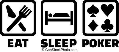 eldgaffel, sömn, äta, ikonen